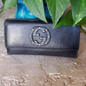 GUCCI Black Leather Blondie Continental Wallet